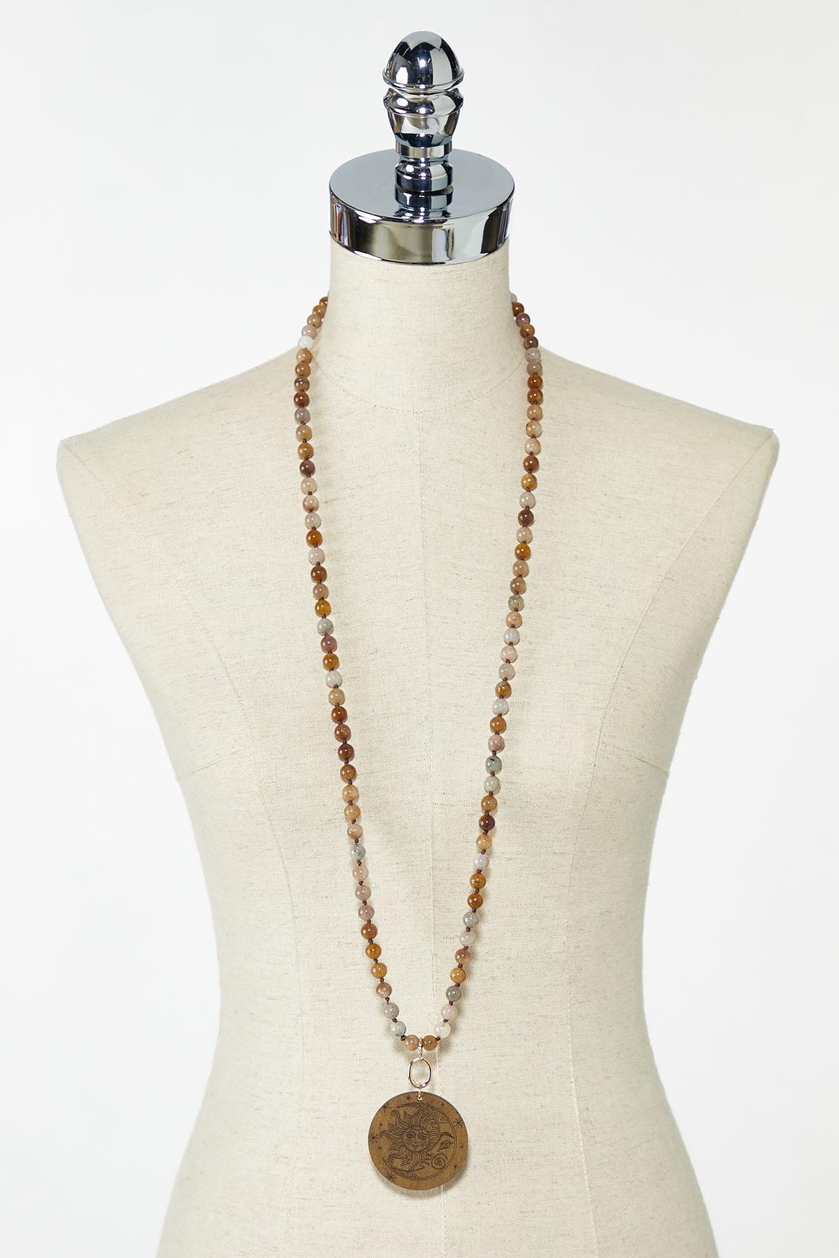 Wooden Celestial Pendant Necklace (Item #44774171)