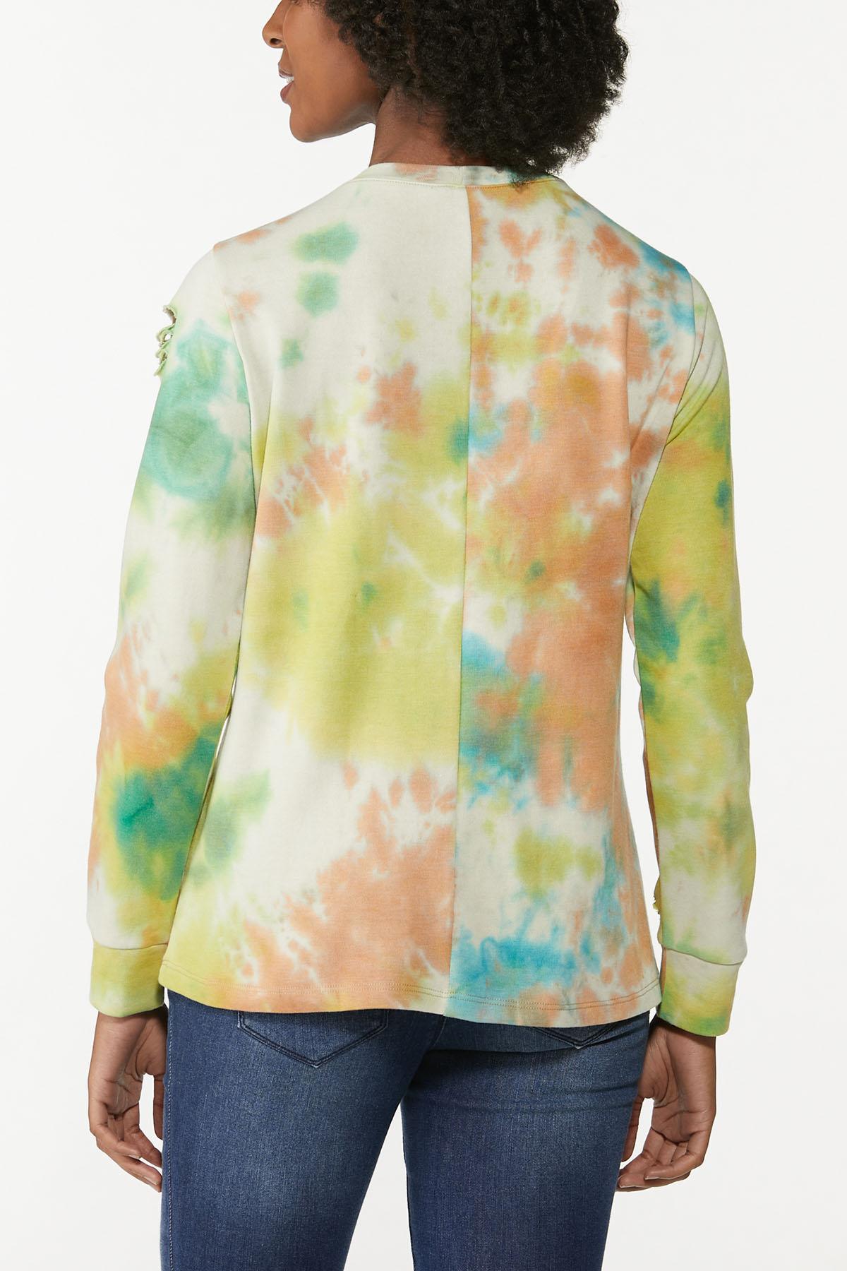Plus Size Cutout Tie Dye Sweatshirt (Item #44779128)