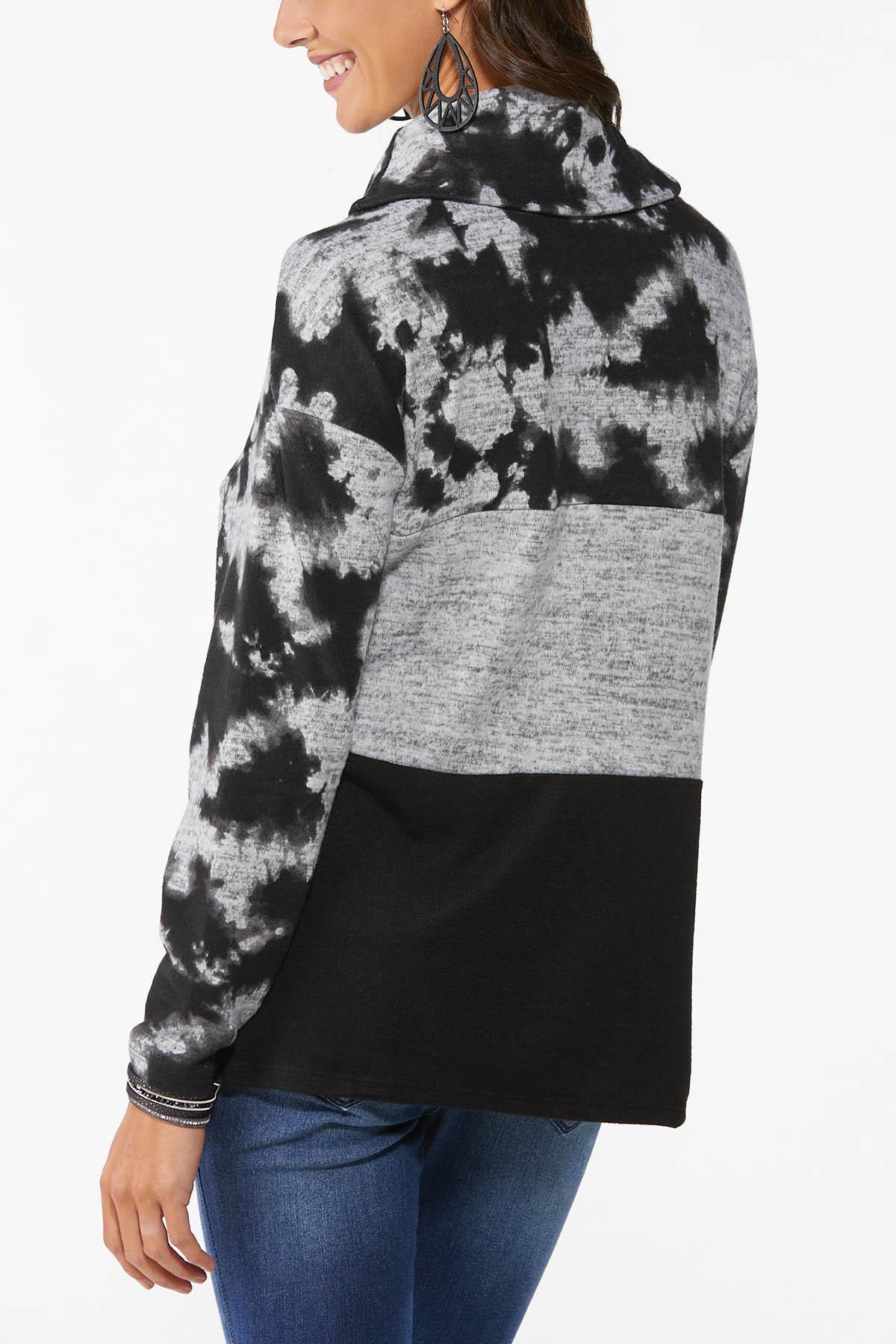 Plus Size Tie Dye Cowl Neck Top (Item #44779164)