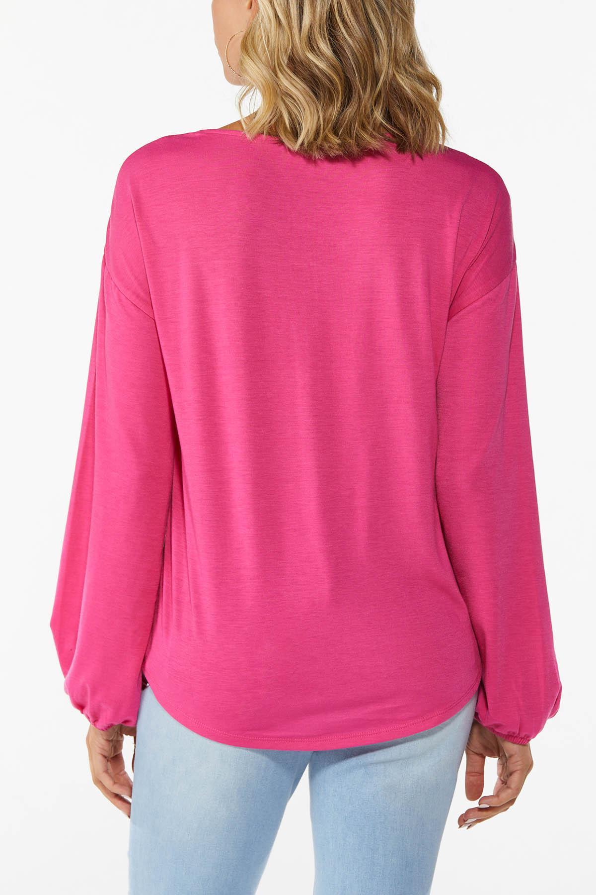 Plus Size Sleek Fuchsia Cinch Front Top (Item #44779182)
