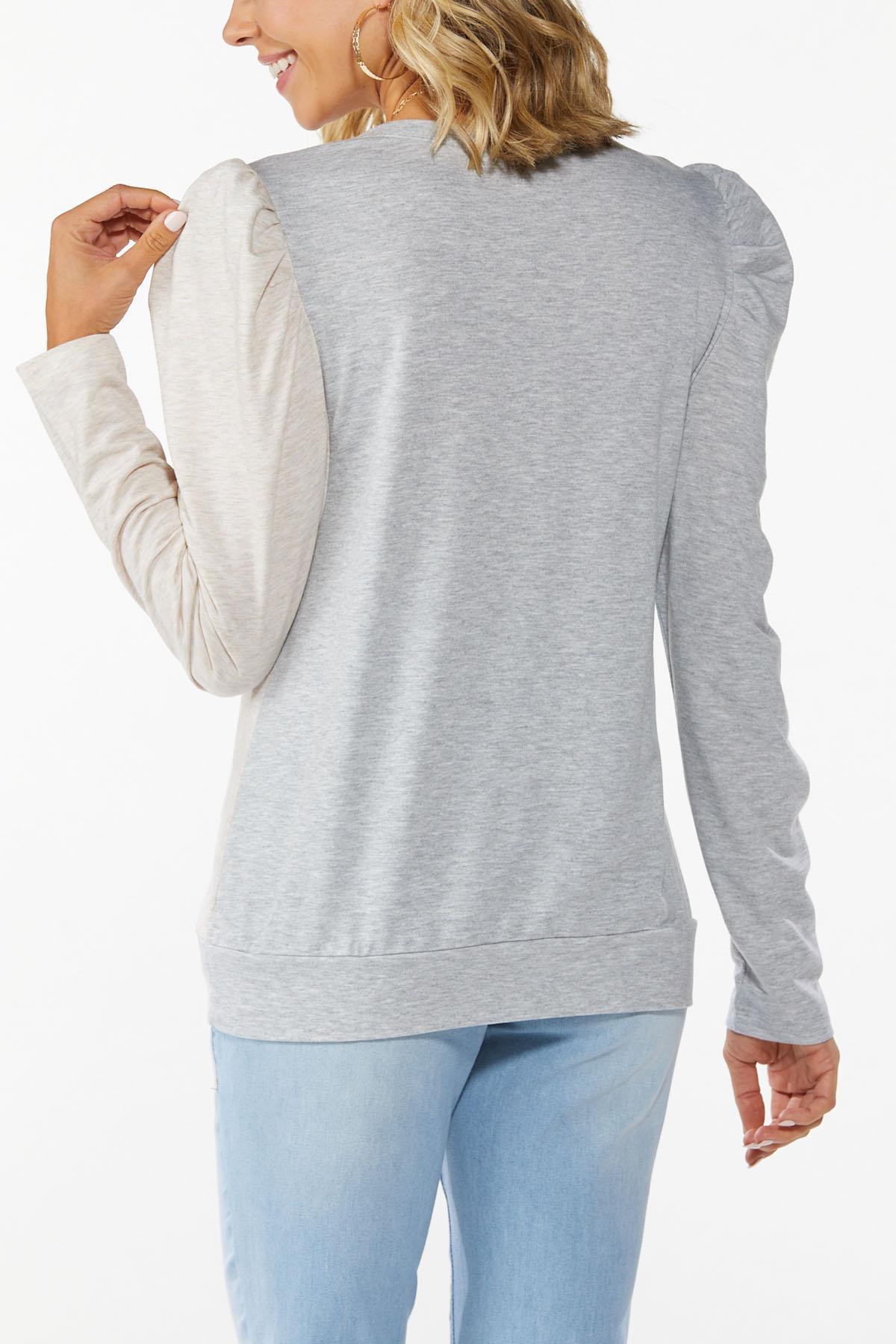 Plus Size Colorblock Puff Sleeve Top (Item #44780888)