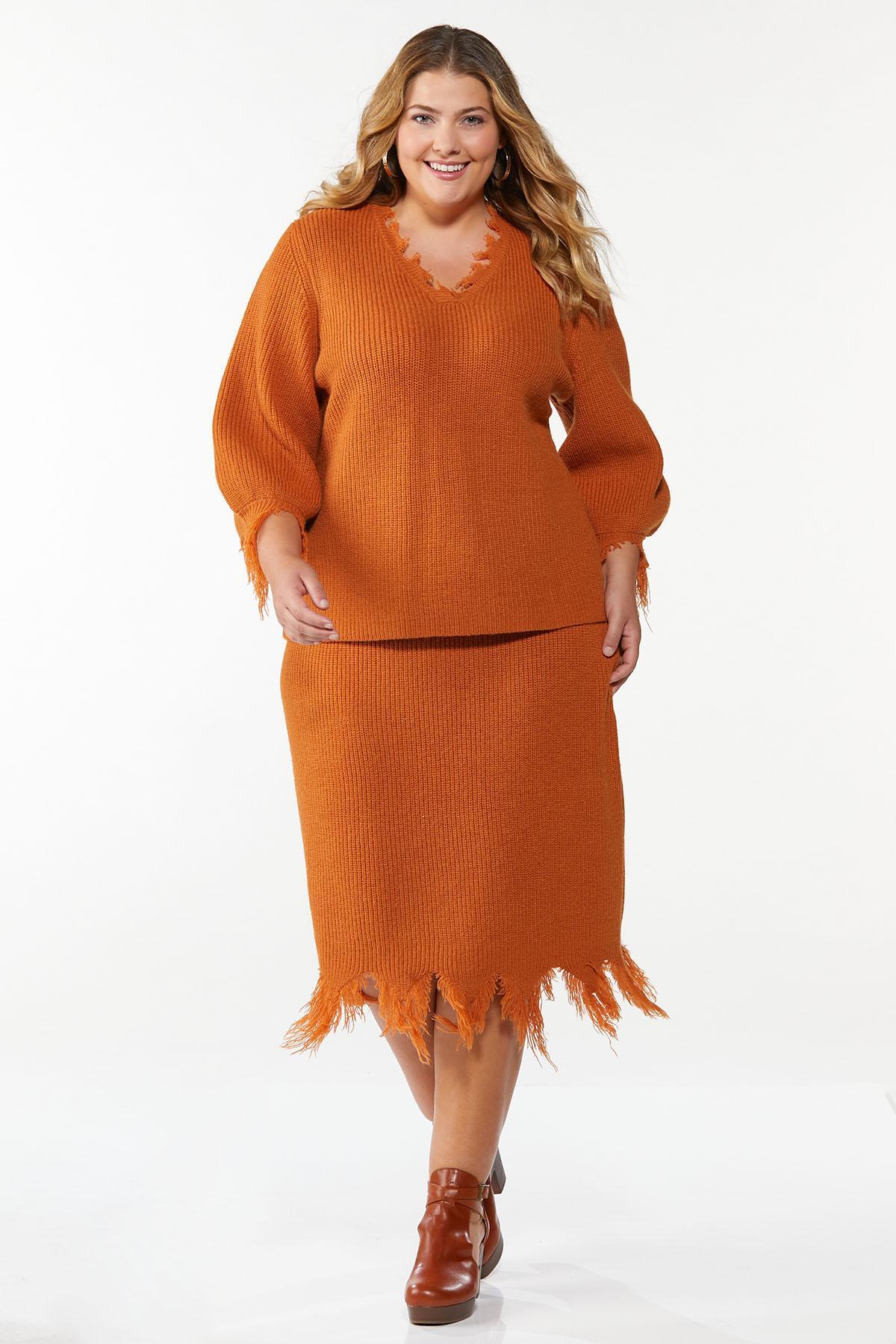Plus Size Distressed Orange Sweater (Item #44781662)