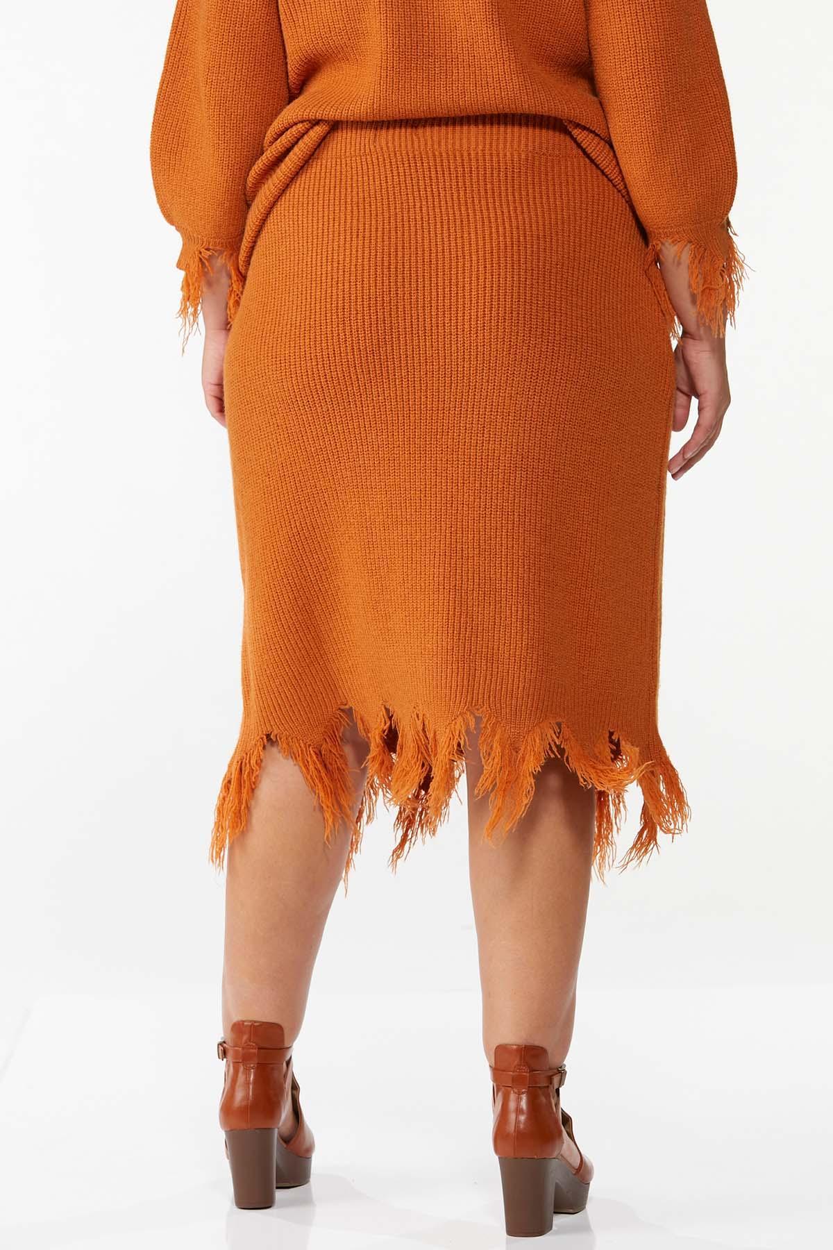 Plus Size Distressed Sweater Skirt (Item #44781668)