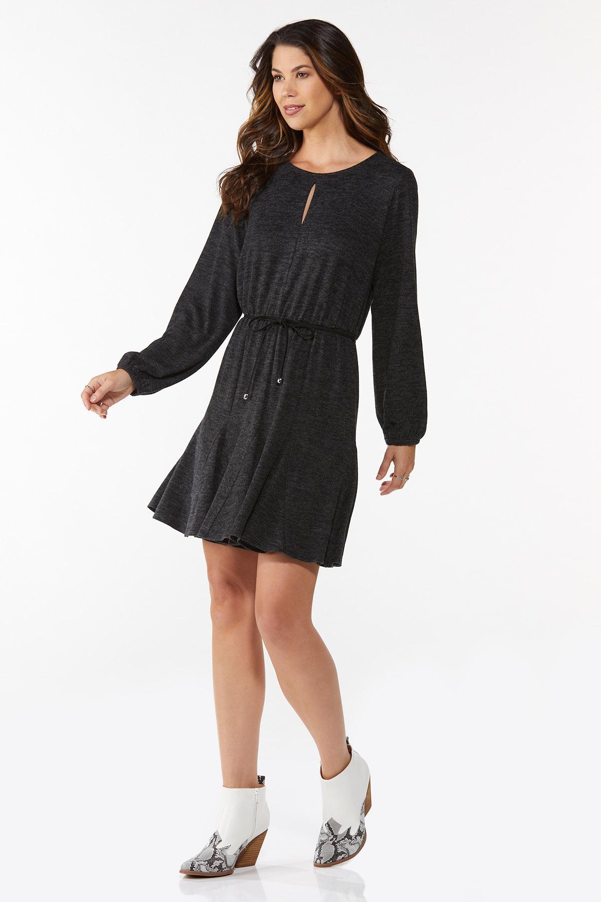 Plus Size Hacci Tie Waist Dress (Item #44782029)