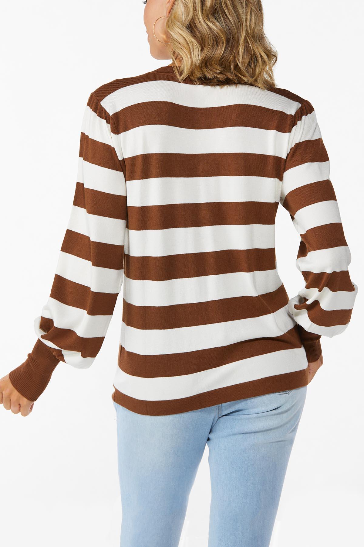 Plus Size Caramel Latte Stripe Cardigan (Item #44783537)