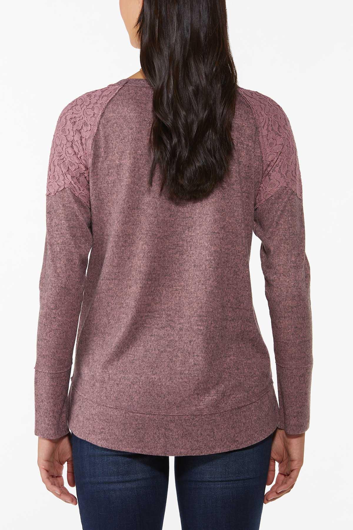 Lace Shoulder Hacci Top (Item #44787822)