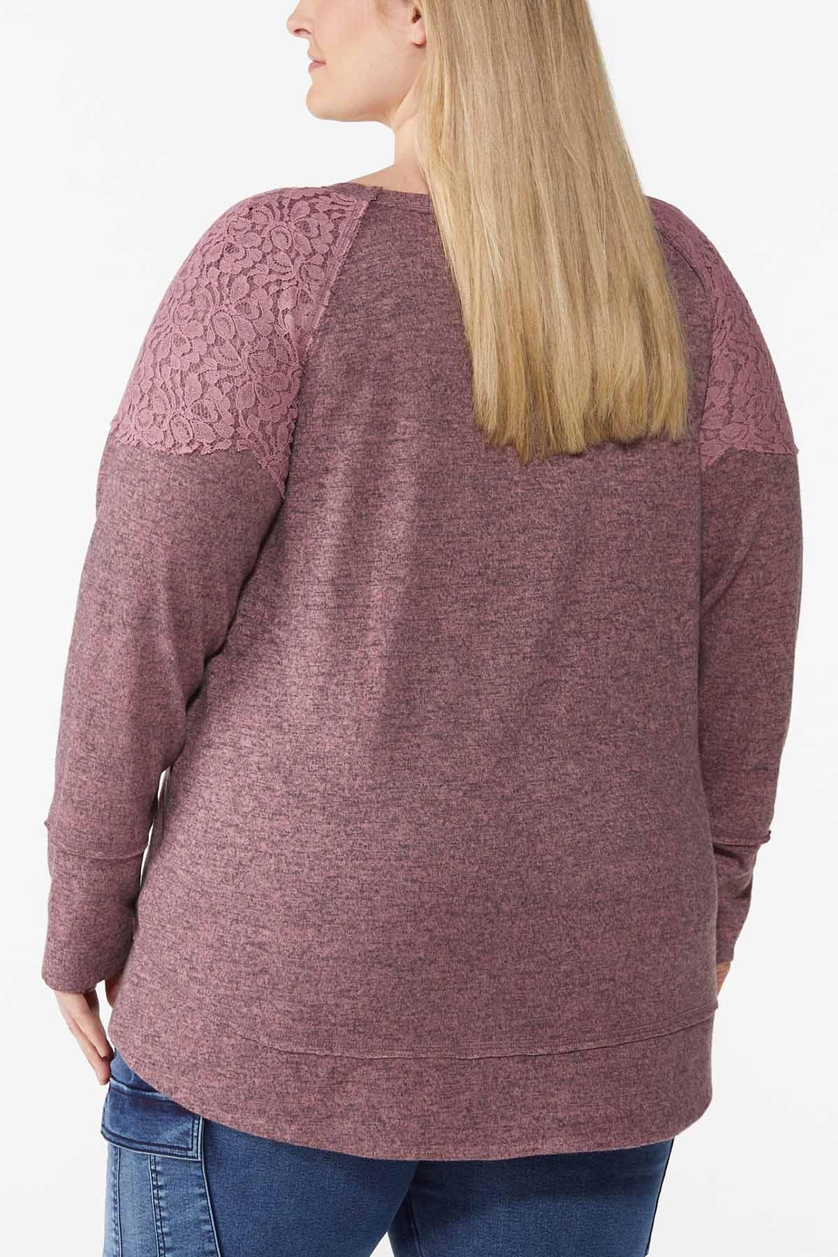 Plus Size Lace Shoulder Hacci Top (Item #44787836)