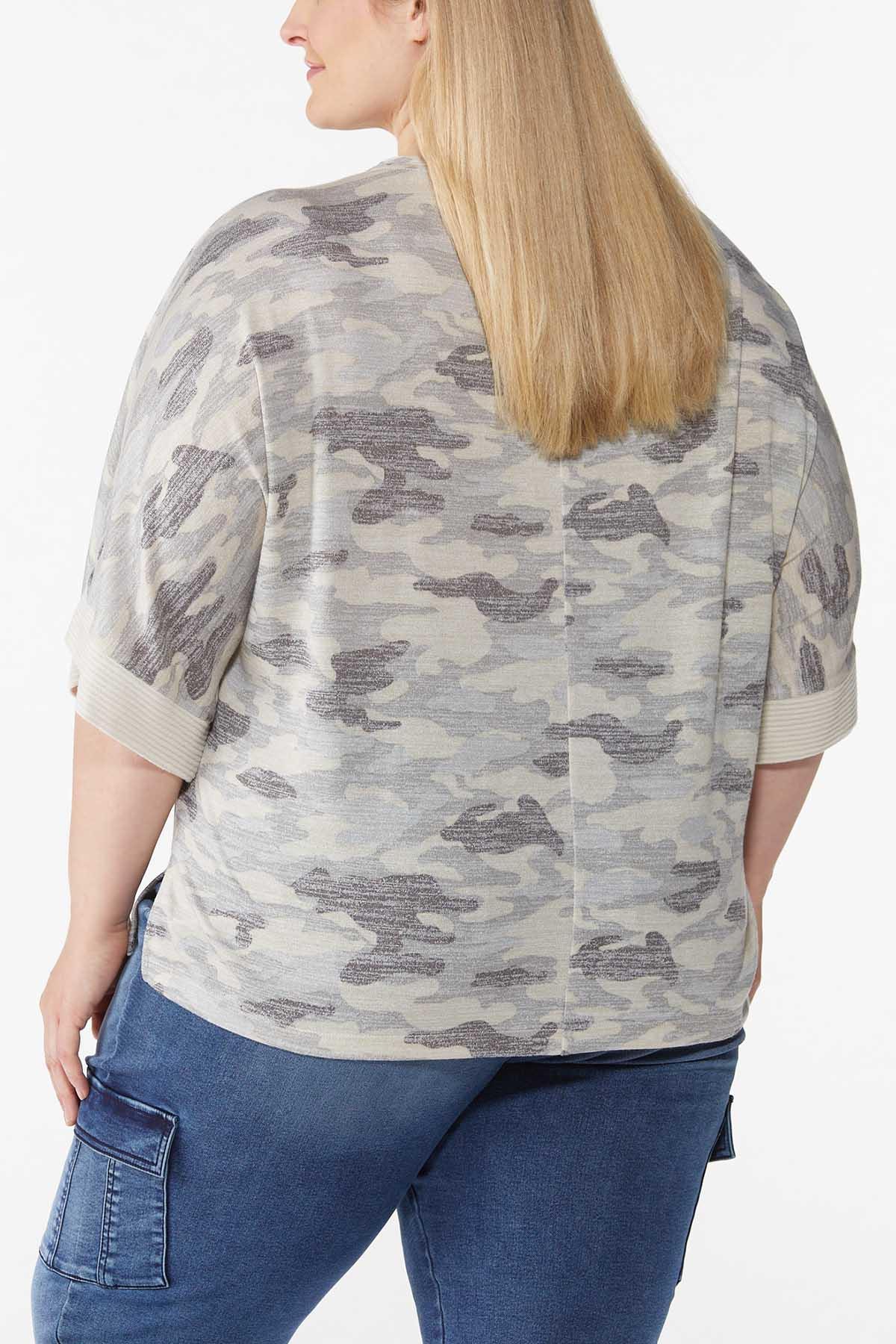 Plus Size Camo Kimono Sleeve Top (Item #44787855)