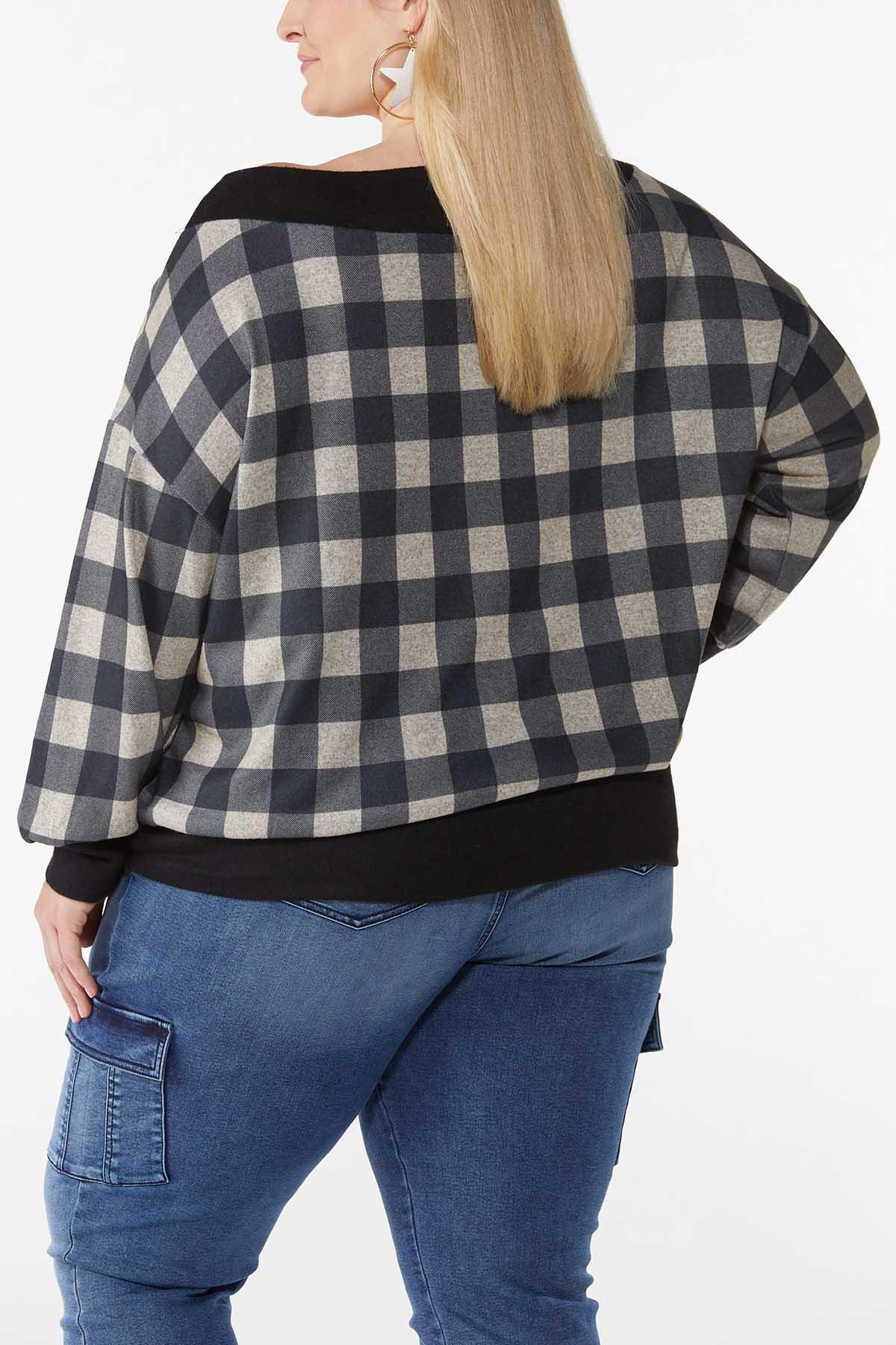 Plus Size Off Shoulder Gingham Top (Item #44787880)