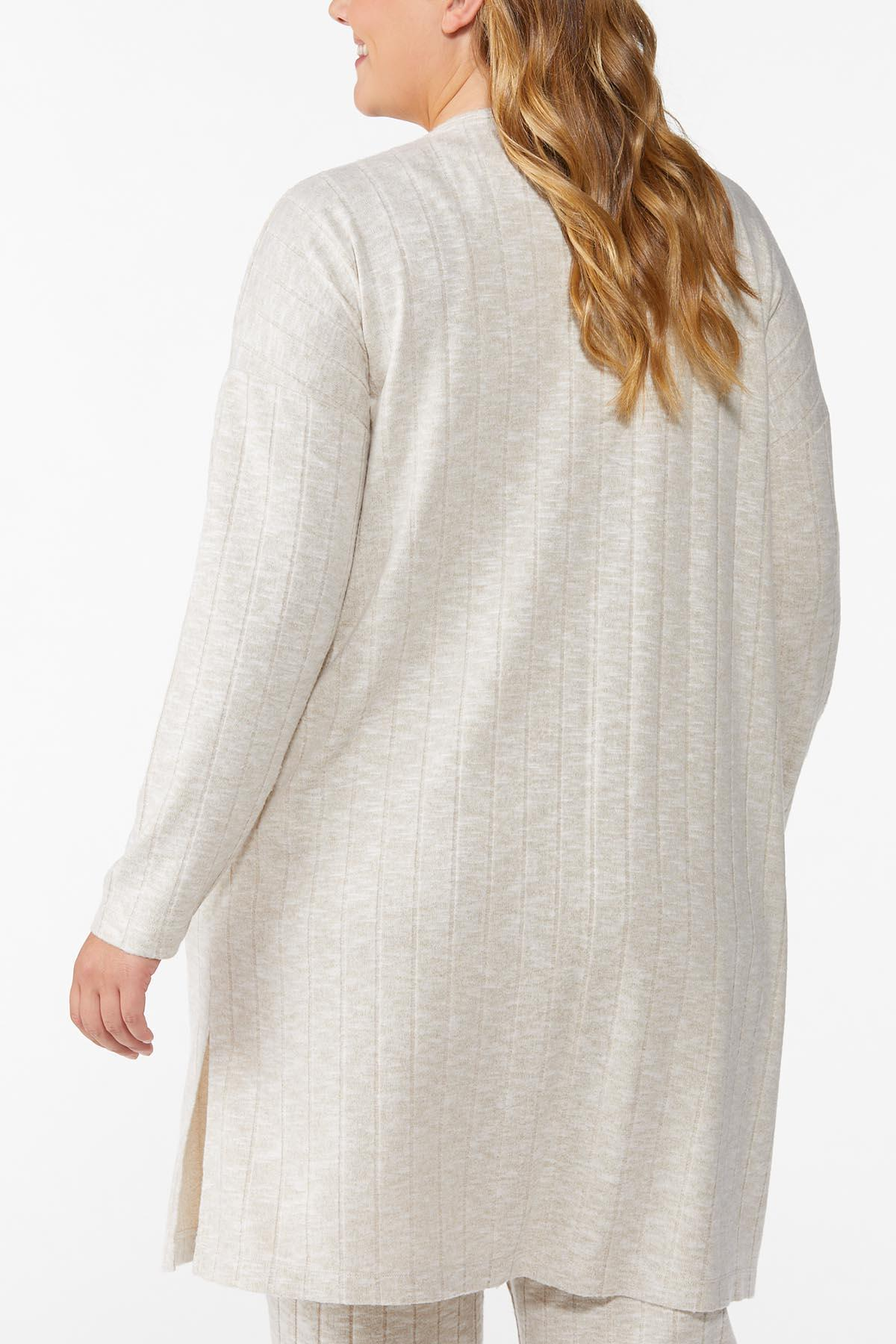 Plus Size Cozy Ribbed Cardigan (Item #44796318)