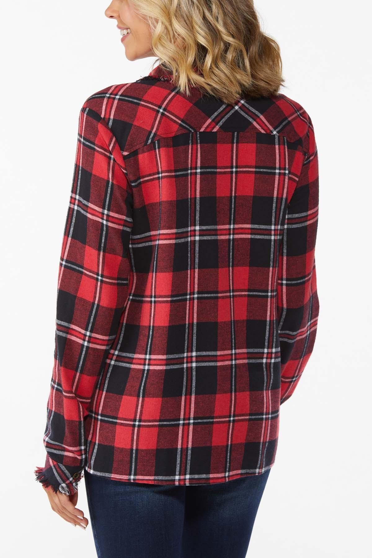 Plus Size Plaid Button Front Shirt (Item #44797371)