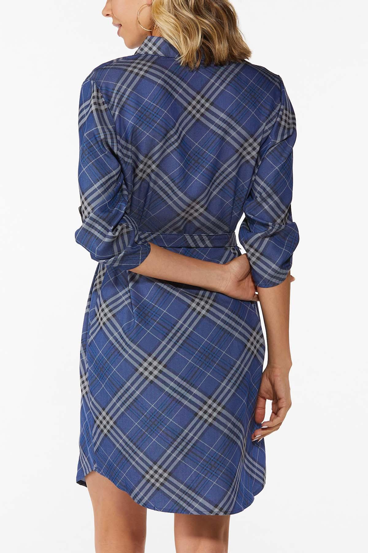 Blue Plaid Shirt Dress (Item #44822626)