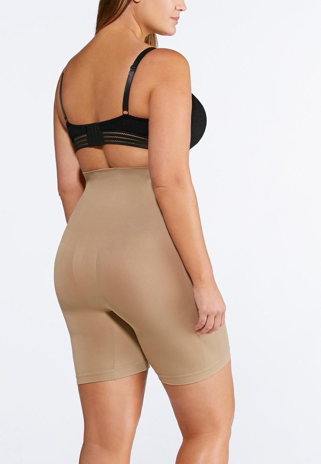 Plus Size Nude Seamless High Waist Shorts (Item #91582420)