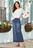 Multi Seamed Denim Maxi Skirt alternate view