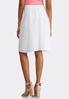 Plus Size White Shadow Stripe Midi Skirt alternate view