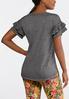 Plus Size Ruffled Sleeve Slub Tee alternate view