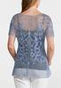 Natural Faded Wash Floral Crochet Top alternate view