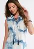Plus Size Lace Up Tie- Dye Denim Shirt alternate view