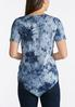 Plus Size Navy Tie Dye Embroidered Top alternate view