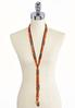 Knotted Mixed Bead Tassel Necklace alternate view