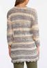 Plus Size Striped Scalloped Cardigan Sweater alternate view