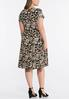 Plus Size Seamed Neutral Paisley Puff Print Dress alternate view