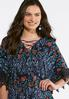 Plus Size Navy Tasseled Lace Sleeve Top alternate view