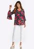 Plus Size Fuchsia Floral Bell Sleeve Top alternate view