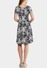 Plus Size Seamed Puff Navy Floral Dress alternate view