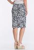 Striped Vine Floral Puff Print Skirt alternate view