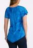 Plus Size Blue Embellished Puff Print Top alternate view