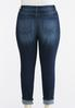 Plus Size Heavy Distressed Cuffed Ankle Jeans alternate view