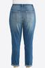 Plus Size Stud Distressed Girlfriend Ankle Jeans alternate view
