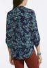 Plus Size Navy Floral Popover Top alternate view