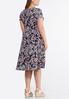 Plus Size Navy Fuchsia Puff Print Dress alternate view