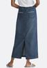 Plus Size Stitched Pockets Denim Skirt alternate view
