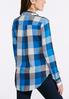 Plus Size Embellished Blue Plaid Shirt alternate view
