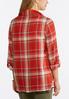 Plus Size Fall Red Draped Plaid Jacket alternate view