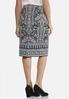 Plus Size Paisley Ponte Pencil Skirt alternate view