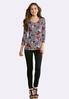 Plus Size Floral Houndstooth Top alternate view