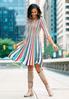 Multi Color Stripe Knit Flare Dress alternate view