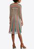 Plus Size Multi Color Stripe Knit Flare Dress alternate view