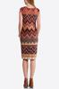 Plus Size Chevron Floral Midi Dress alternate view