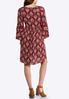 Plus Size Lace Trim Feather Print Dress alternate view