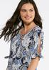 Plus Size Puff Paisley Tie Sleeve Top alternate view