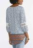 Lace Sleeve Border Print Top alternate view
