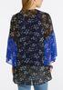 Plus Size Two- Toned Blue Floral Kimono alternate view