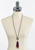 Beaded Faux Suede Tassel Necklace alternate view