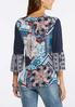 Plus Size Blue Twin Print Poet Top alternate view