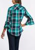Plus Size Plaid Bell Sleeve Shirt alternate view